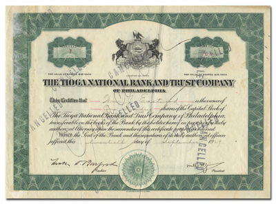 Tioga National Bank and Trust Company of Philadelphia Stock Certificate