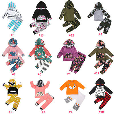 US STOCK 2Pcs Newborn Baby Boy Girl Long Sleeve Hoodies Top+Pants Outfit Clothes
