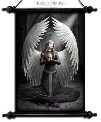 "Anne Stokes Scroll ""prayer For The Fallen"" Gothic Angel With Large Wings"