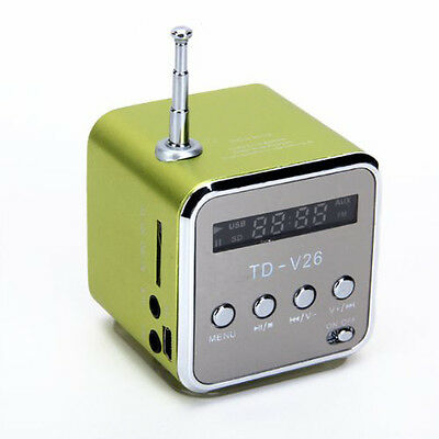 TD-V26 Portable Mini Digital Speaker with Micro SD / TF / USB /FM (Green) CT