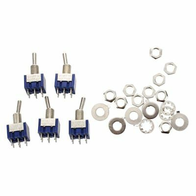 10X(5pcs 3 Position 2P2T DPDT ON-OFF-ON Miniature Mini Toggle Switch A7E6)