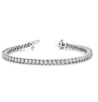 "Certified 3.25Ct Round White Diamond Prong Tennis Bracelet 7"" Sterling Silver"
