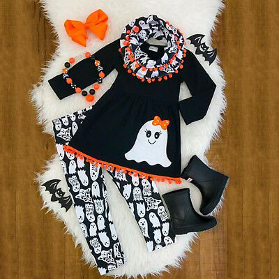 Halloween Kids Baby Girls Tassel Tops T-shirt Leggings Outfits Clothes USA Stock