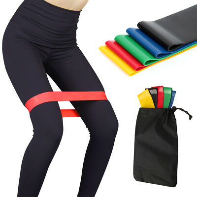 5PC Workout Resistance Bands Loop Set CrossFit Fitness Yoga Booty Exercise Band