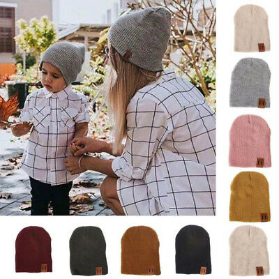 Winter Warm Mom&Newborn Kids Boys Girls Knited Woolen Headgear Beanie Cap Hat UK
