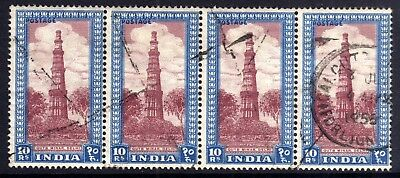INDIA 1949-52 10r USED STRIP OF FOUR, SG 323b