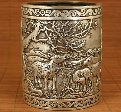 Big chinese oLD Tibet Silver Copper hand carving Sheep statue figure Brush Pot