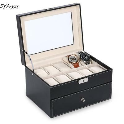 20 Slots Watch Display Case Holder Leather Box Glass Jewelry Storage Case US S15
