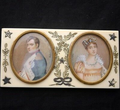 Miniature Napoleon & Josephine Portraits 19th C.
