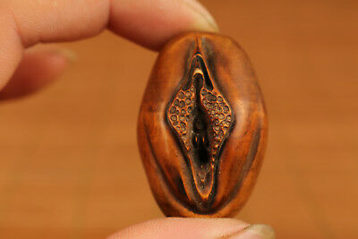 Valuable chinese tibet  Old Boxwood hand carving Door Of Life statue Netsuke