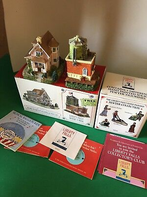 MIB 1998 LIBERTY FALLS HOME OF ARTIST ANABELLE PHILLIPS & WATER TOWER Set of 2