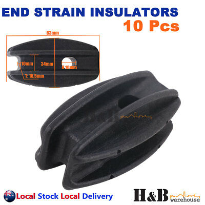 10X Heavy Duty End Strain Insulator Bullnose Electric Fence Energiser Polywire