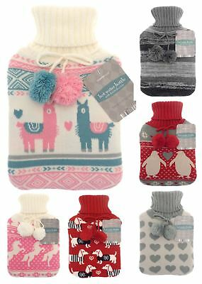 Knitted Hot Water Bottle & Soft Cover 2 Litre Rubber Thermal Winter Christmas