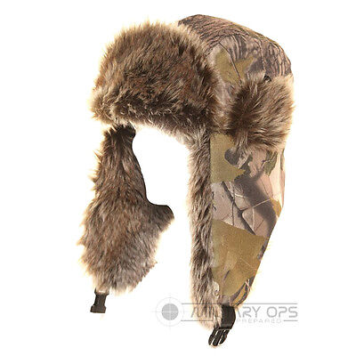 Woodland Forest Camo Trapper Hat With Faux Fur Trim Hunter Warm