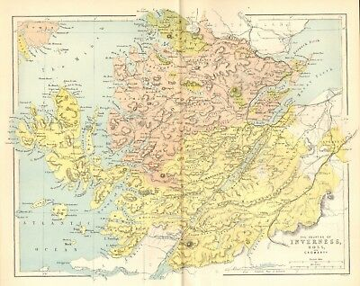original 1868 colour map ! the counties of inverness - ross & cromarty
