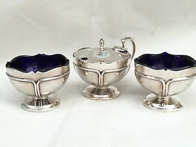 Superb Heavy Solid Silver Salt/Pepper and Mustard Pot, 1921