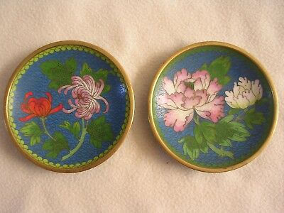 Pair of Chinese cloisonne small plates