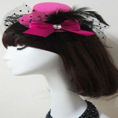 Fashion Rose Hat Top Mini Lady Women Bow Cap Lace Fascinator Hair Clip