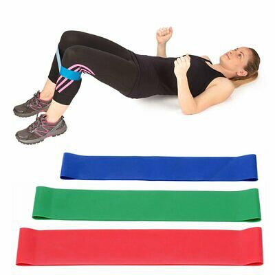 3x Resistance Exercise Loop Bands Natural Latex Ankle Leg Home Gym Fitness Yoga