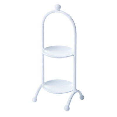 2 Tier Macaron Tower Cupcake Stand Serving Cake Muffin Food Party Rack White