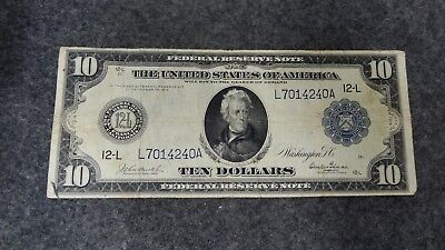 1914 Large Size $10 Federal Reserve Note Blue Seal