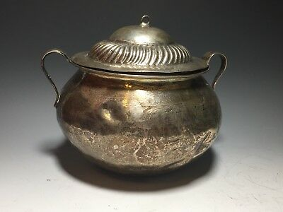 Antique Persian Silver Hand Made Covered Bowl