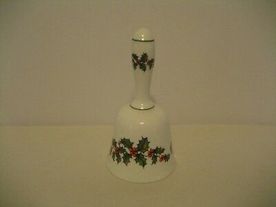 Bone China-Crown-Staffordshire England Bell- Holly & Berries on White