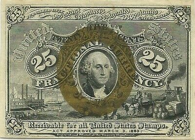 FRACTIONAL 25c 2nd ISSUE ~ WASHINGTON IN OVAL ~ FR 1286 ~ CHOICE CRISP NEW NOTE