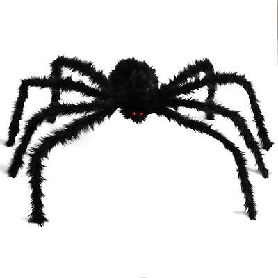 Lot of 2 CASACLAUSI Halloween Spider Red Eyes 4 Feet Black Hairy Haunt Decor