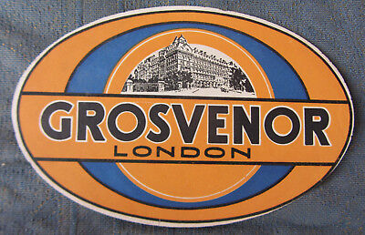 Old Luggage Label Grosvenor Hotel London