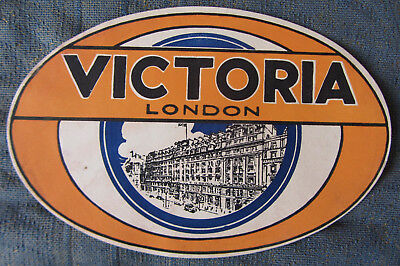 Old Luggage Label Victoria Hotel London