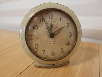 Vtg Baby Ben Westclox Wind Up Alarm Clock Metal Round Face Keeps Time