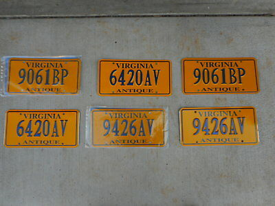 Virginia antique/classic vintage collector car license plate: yellow & blue