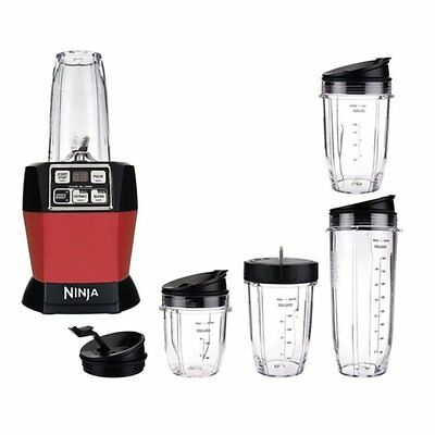 Nutri Ninja Auto iQ Pro Complete Blender with 5 To Go Cups & 4 Lids BL487, Red