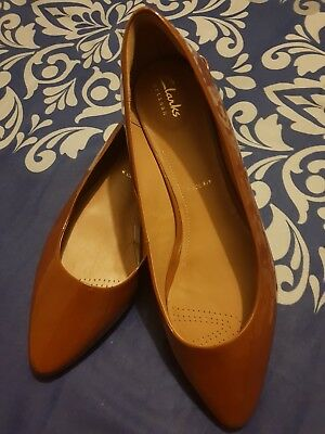 Patent Leather Clarks Rust Pointed Flats