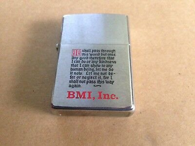 1973 Full Size Zippo Lighter w Funny Poem BMI Inc. Buck Is Still A Buck USED