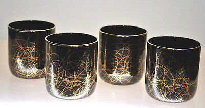 "Rare-Vintage ""libbey"" Black Cocktail Glasses With Gold Gilt Swirls Contemporary"