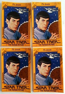 4 Star Trek the Motion Picture Spock Sticker Movie Promotional Card 1979 Lot