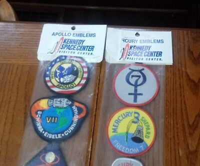 """Kennedy Space Center Apollo & Mercury Emblems 3"""" Patches New Old Stock Made USA"""
