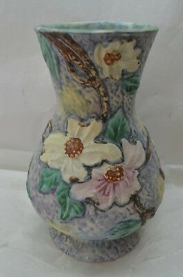 VINTAGE WELLER POTTERY VASE SILVERTONE PATTERN 10in TALL FLORAL GRAY PINK GREEN