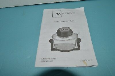 Mainstays Turbo Convection Oven 201519 Replacement Instruction Book, Ships Free