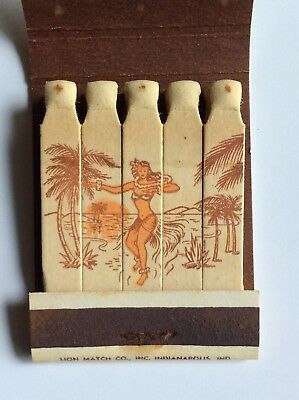 Vtg Girlie Feature Matchbook Aloha Cocktail Bar Cocktail Lounge Indianapolis