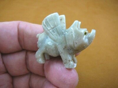 (Y-PIG-FL-7) little white gray FLYING PIG carving pigs SOAPSTONE FIGURINE piggie