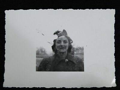 Vtg 1940s Abstract Double Exposure PHOTO Snapshot Soldier Man in Her Head Woman