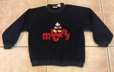 The Disney Store Mickey Mouse Kids Sweatshirt Small Blue Crew Neck Vintage 80's