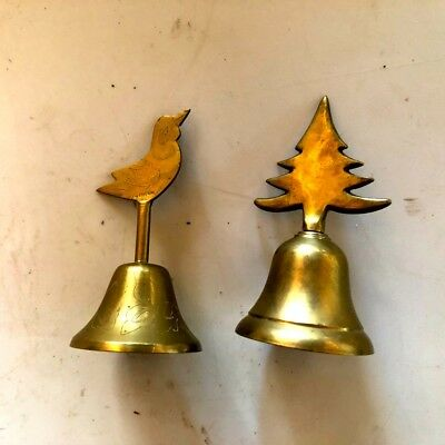 Two Small Vintage Brass Bells Bird And Tree