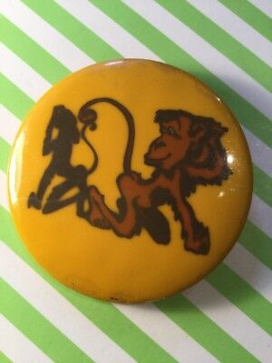 Vintage Collectable Kitsch Baltic Monkey Vanity Shadow Cartoon Signed Pin Badge