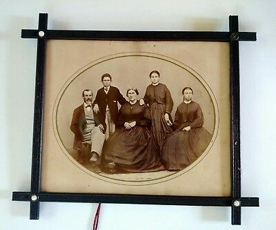 """Antique 1800's Family Photo In Wood Frame 15"""" x 13"""" Vintage Picture Photo"""