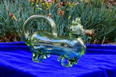 Unusual RARE Antique Green Glass GIN PIG Decanter Bottle with Stopper