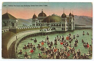 Saltair Pavilion & Bathers, Great Salt Lake, Utah, c1910, Excellent Cond, Unused